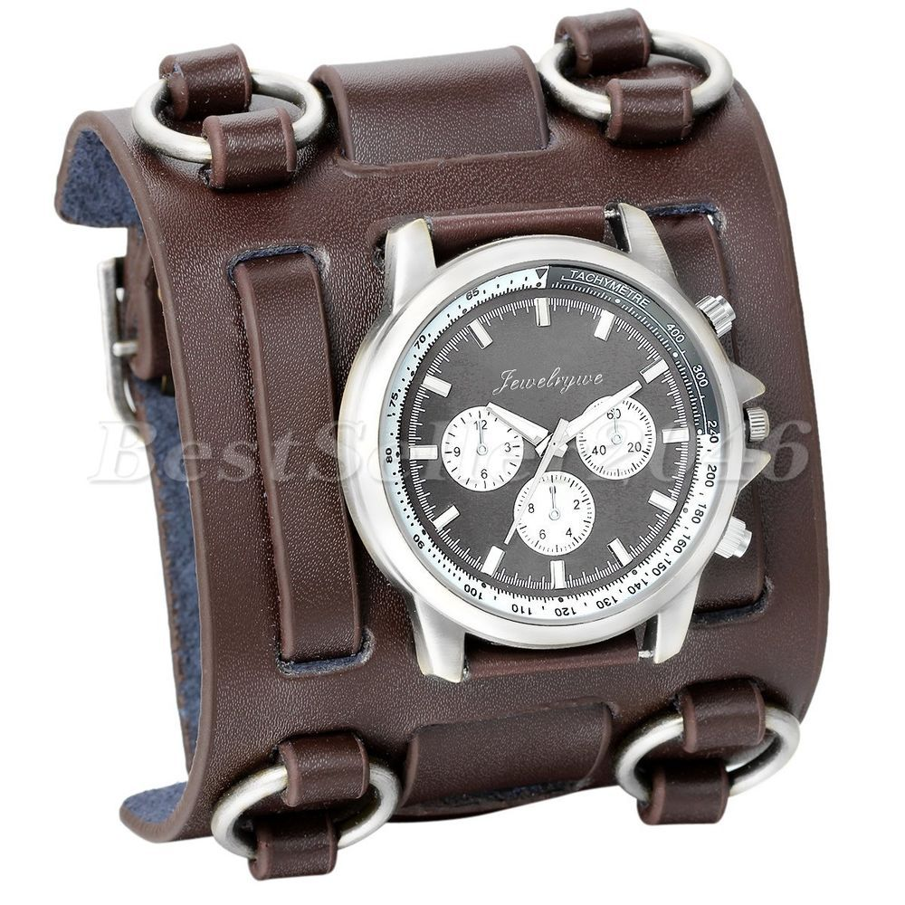 Watch wrist parts - Mens Military Army Super Wide Leather Band Sports Quartz Wrist Watch Brown In Jewelry Watches Watches Parts Accessories Wristwatches