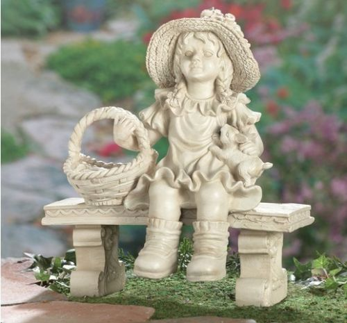 Details About Sweet Little Girl On Bench Garden Statue