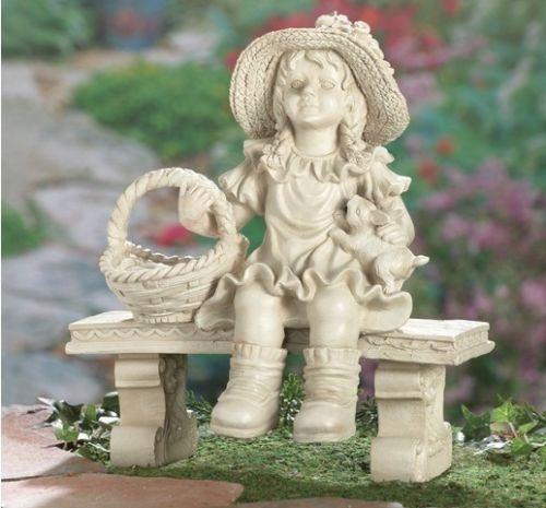 Sweet Little Girl On Bench Garden Statue Figurine Lawn Ornament Yard Decor
