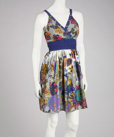 Take a look at this Blue & Gold Floral Studded Dress by Bacci on #zulily today! $25 !!