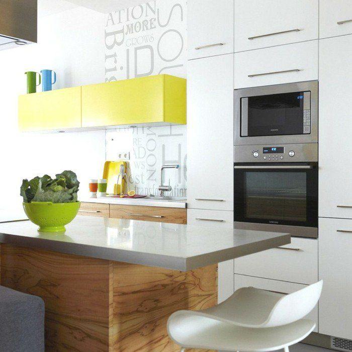 Moderne Kücheninsel kücheneinrichtung gelbe akzente moderne kücheninsel stauraum