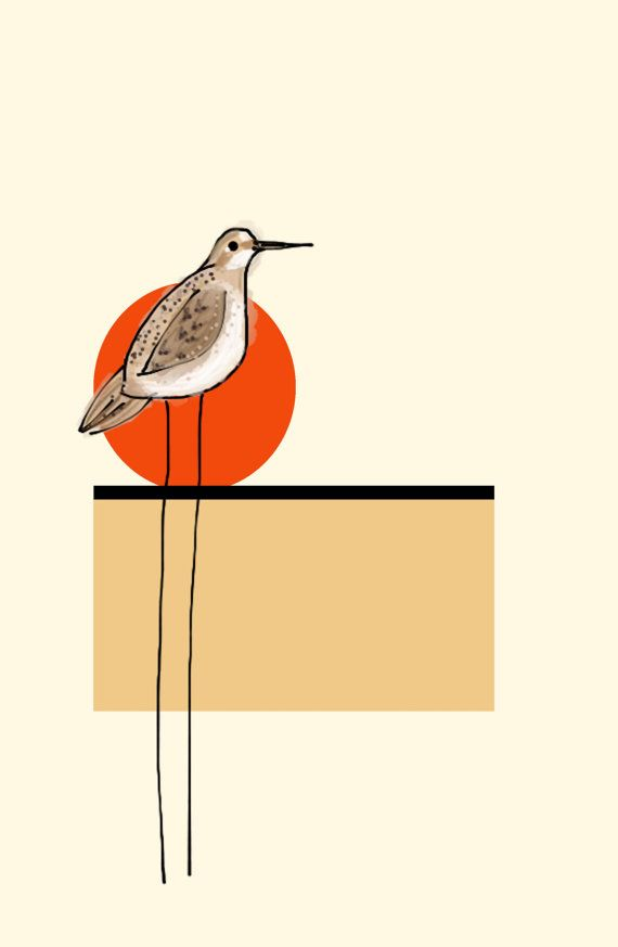 SPECIAL PRICE Autumn Geometric Sun Sandpiper Art by BlueEggsandTea ...