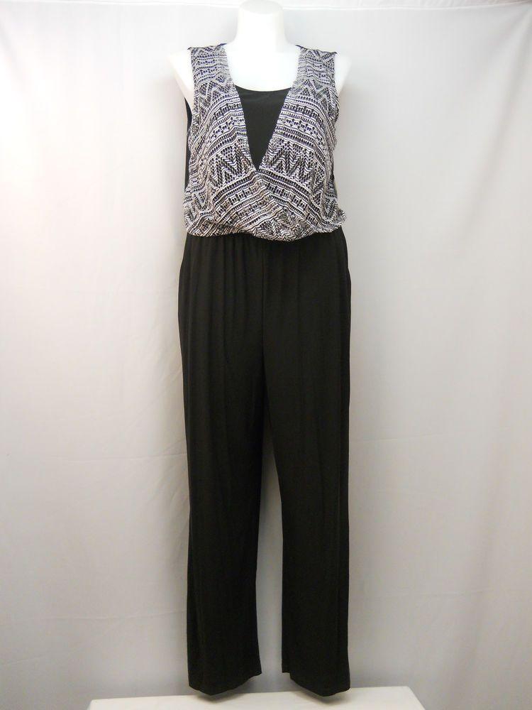 7a5febc0810 Emma   Michele Jumpsuit Size XL Black Surplice Overlay Sleeveless Wide Leg  Pocke  EmmaMichele  Jumpsuit