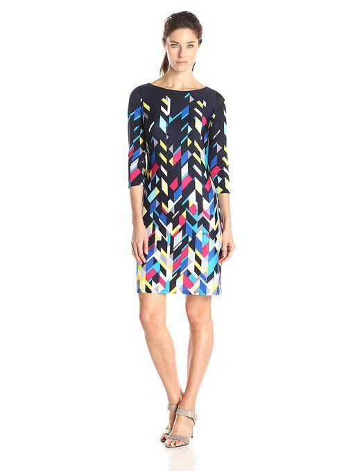 904cf23eb41 Nine West Women s Scuba Bateau Neck 3 4 Sleeve Dress at Amazon Women s  Clothing store