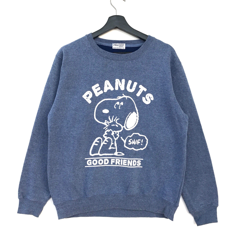 Rare!! Vintage SNOOPY Peanuts Big Printed Men Clothing Sweatshirt Pullover Jumper Disney Cartoon Brown Colour Fits Medium Size esbO6x