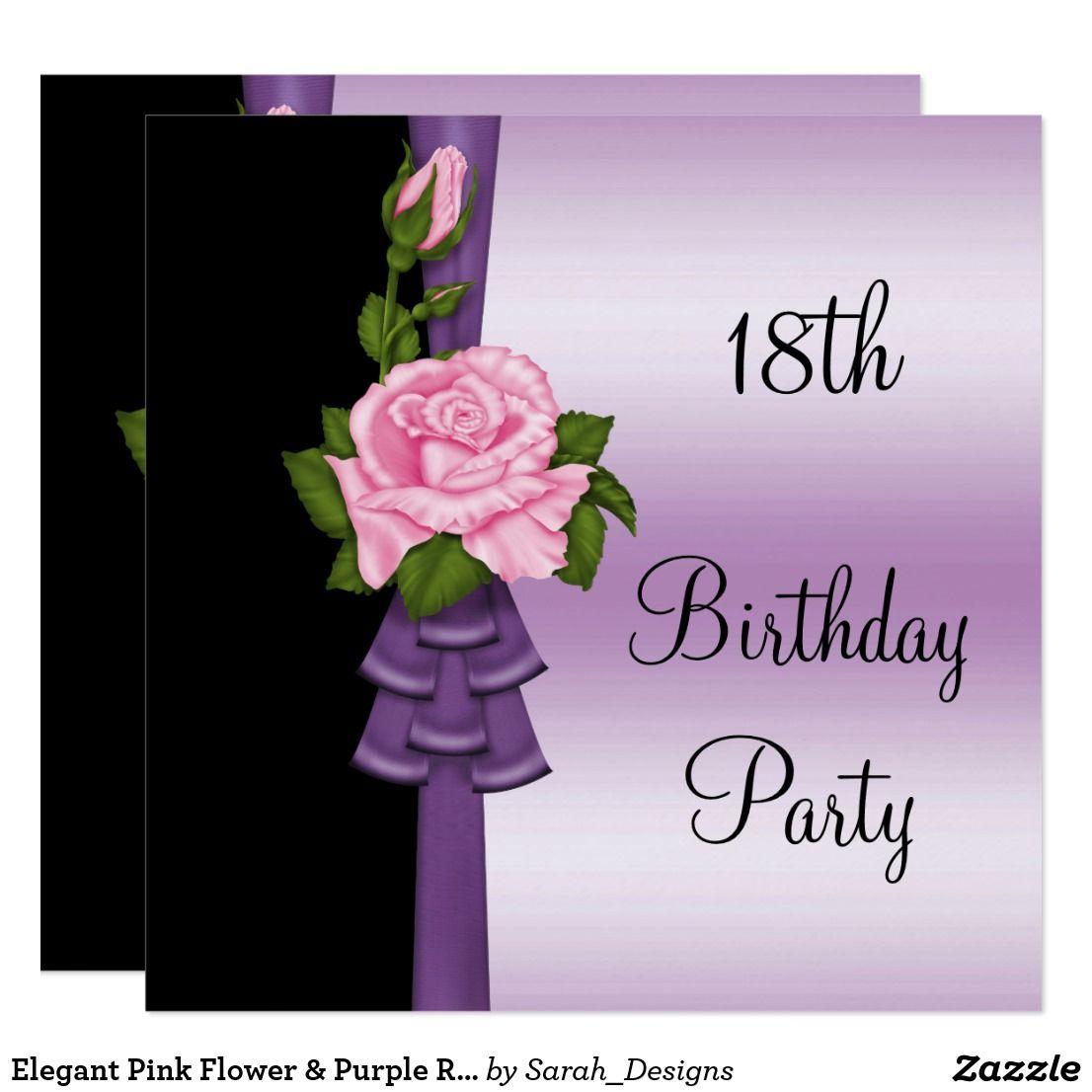 purple ribbon 18th birthday invitation