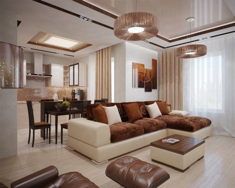 salon marron beige, canapé, plancher en beige, coussins et ...