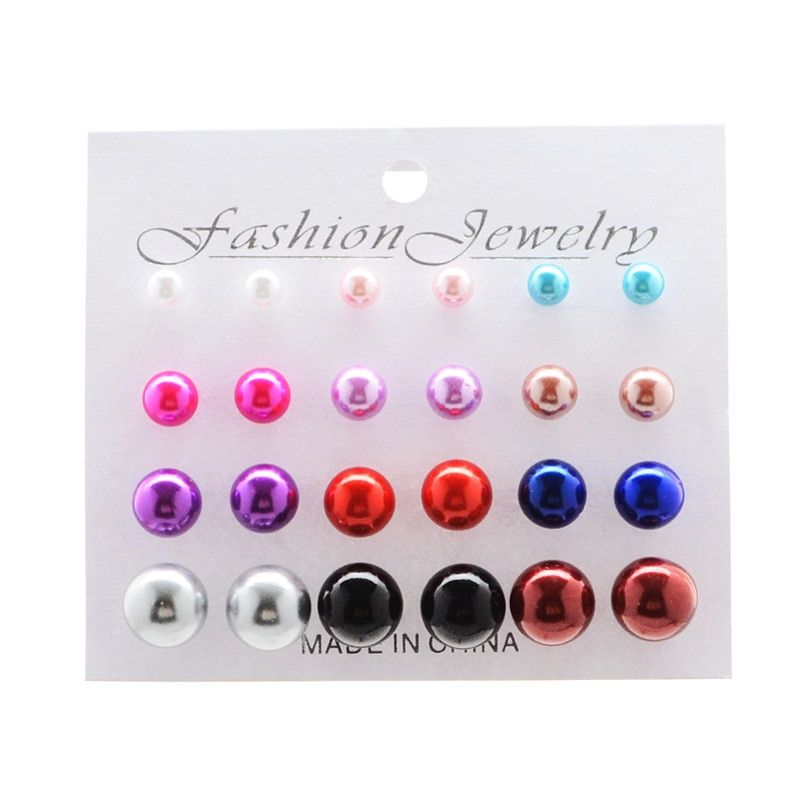 60c98f1c1 Korea Style 12 Pairs Sets Round Square Ball Alloy Crystal Stud Pearl  Earrings For Women Hot-selling Cute Stud Earring,#Square#Sets#Alloy