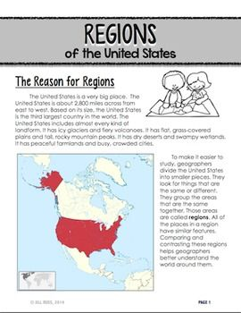 Regions Introduction Lapbook Unit with Informational text {Five ...