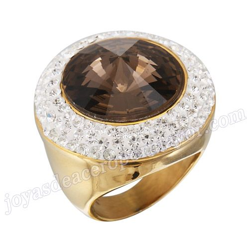 Material: Acero Inoxidable   Nombre:Anillo luminoso de boda de acero con cristal  tinto y diamantes de forma circular   Model No.:SSRG171   Peso:15.7G