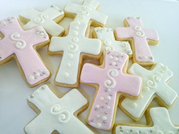 "cross sugar cookies | Cross Sugar Cookies- 2 Dozen with letter ""H"" for sarahoallen"