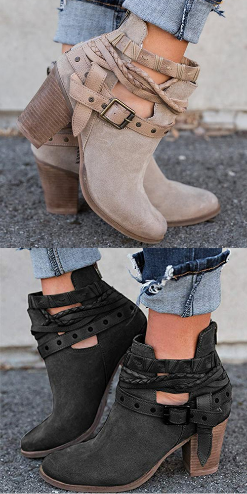 Women Boots Ladies Shoes Boots Suede Leather Buckle Boots High Heeled Snow Shoes for Femme Ladies Shoes-in