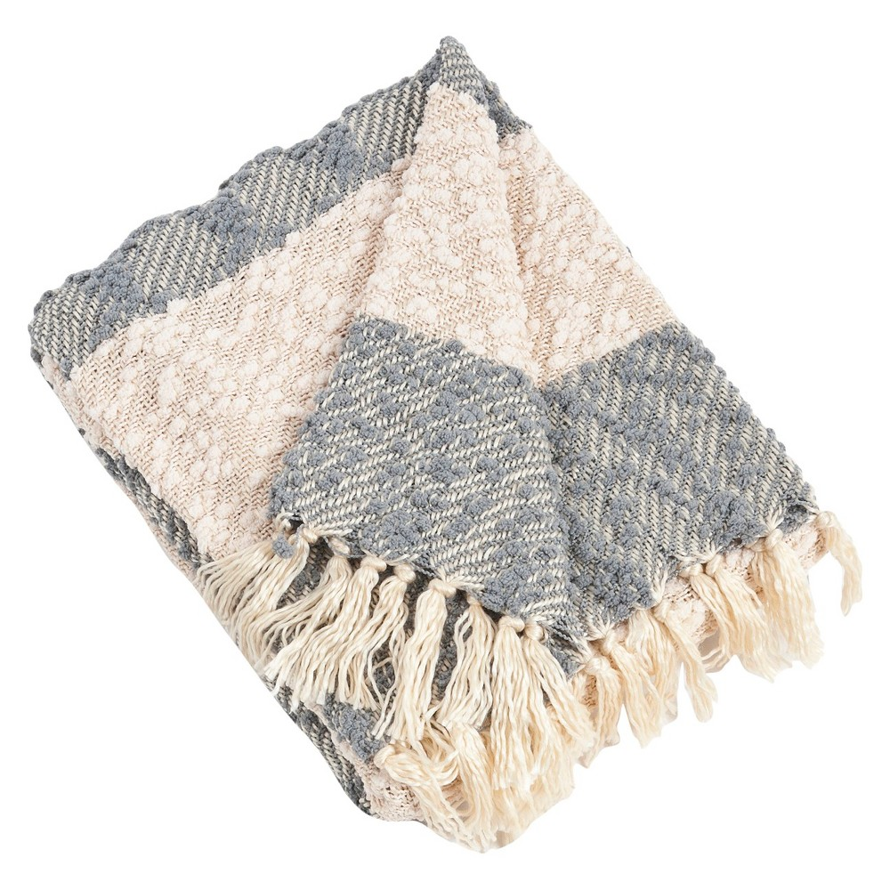 "Nubby Design Striped Throw Grey (50""x60"")"