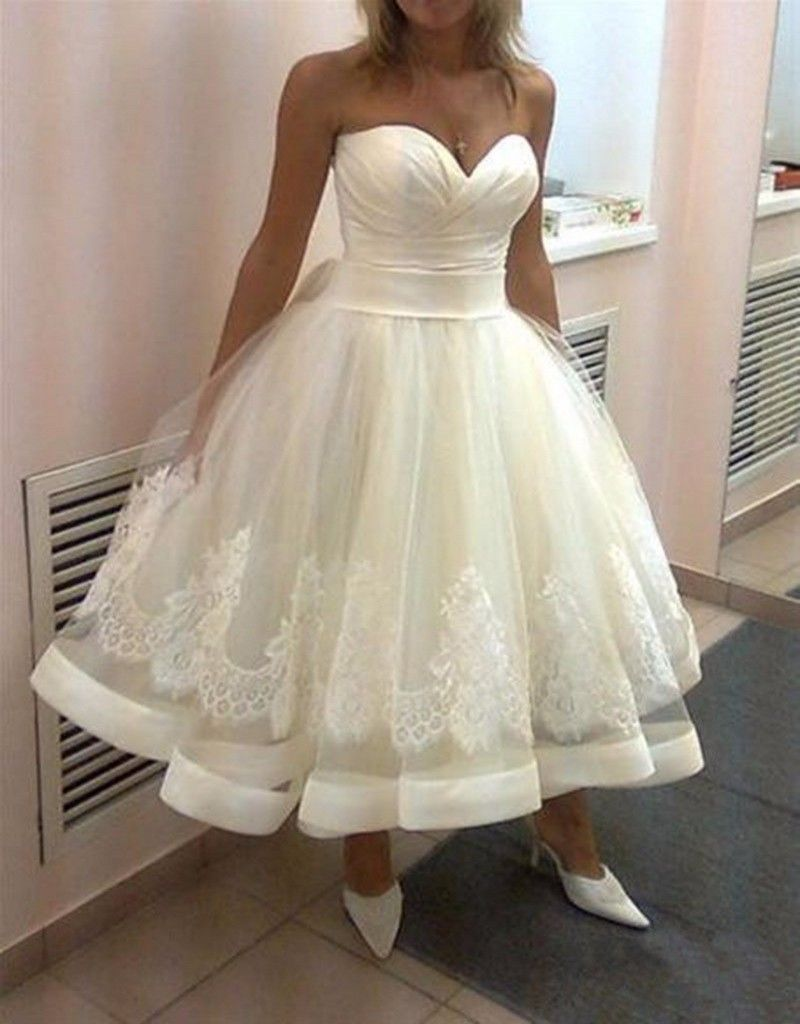Tea length wedding dresses sexy a line with lace applqiues