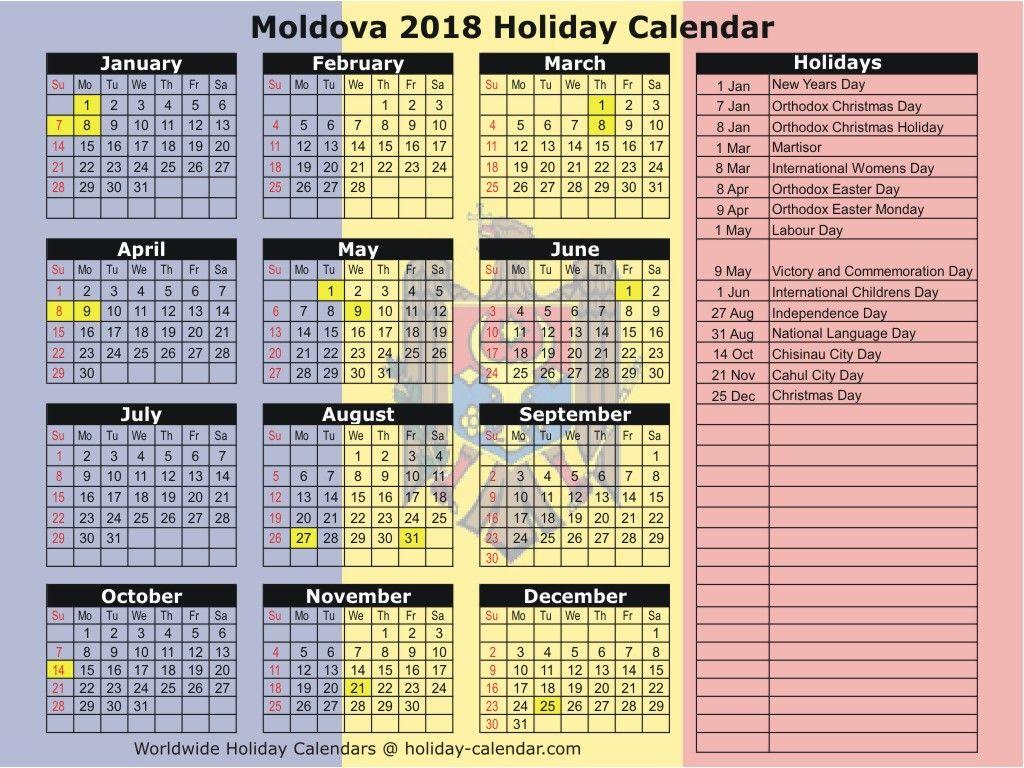 Moldova 2019 2020 Holiday Calendar