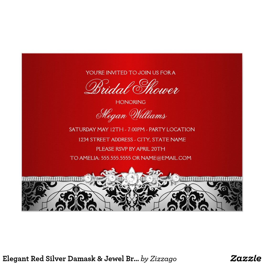 Elegant Red Silver Damask & Jewel Bridal Shower Card | Bridal shower ...
