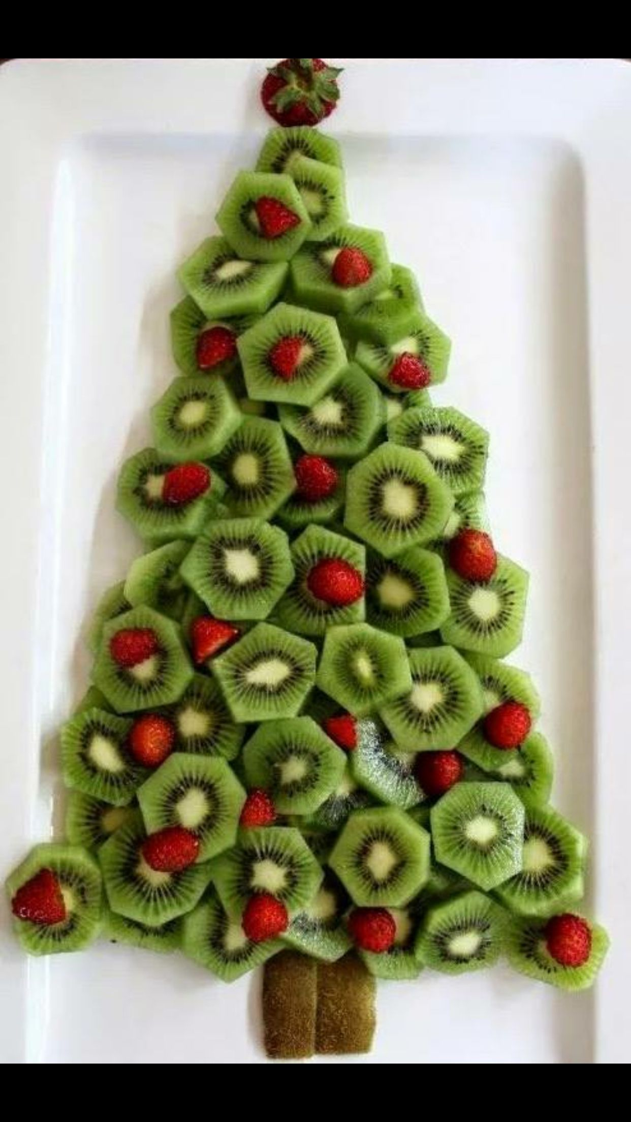Really cool . Kiwi + Strawberry  Christmas Tree . #LotsOfEmojis!