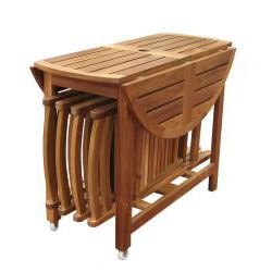 @Overstock   Includes Foldable Table And 4 Comfortable Folding Chairs. The  Sides Of The