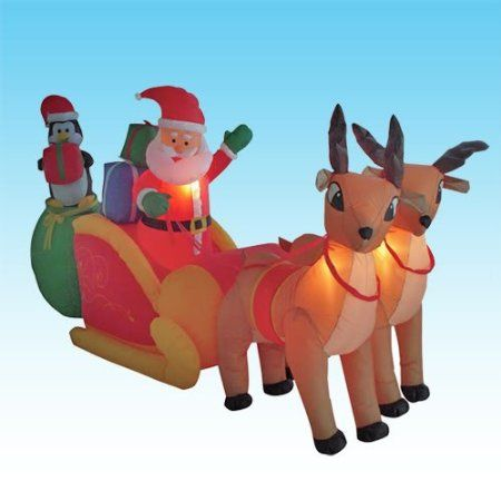 amazoncom 85 foot long christmas inflatable santa claus penguin on sleigh pulled