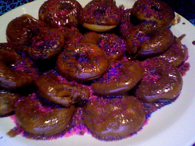 homemade mini sour cream donuts with homemade chocolate  glaze own recipe made in mini babycakes donut maker
