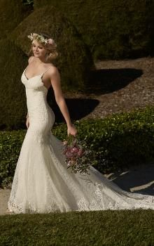 spaghetti straps backless applique lace sexy mermaid wedding dress