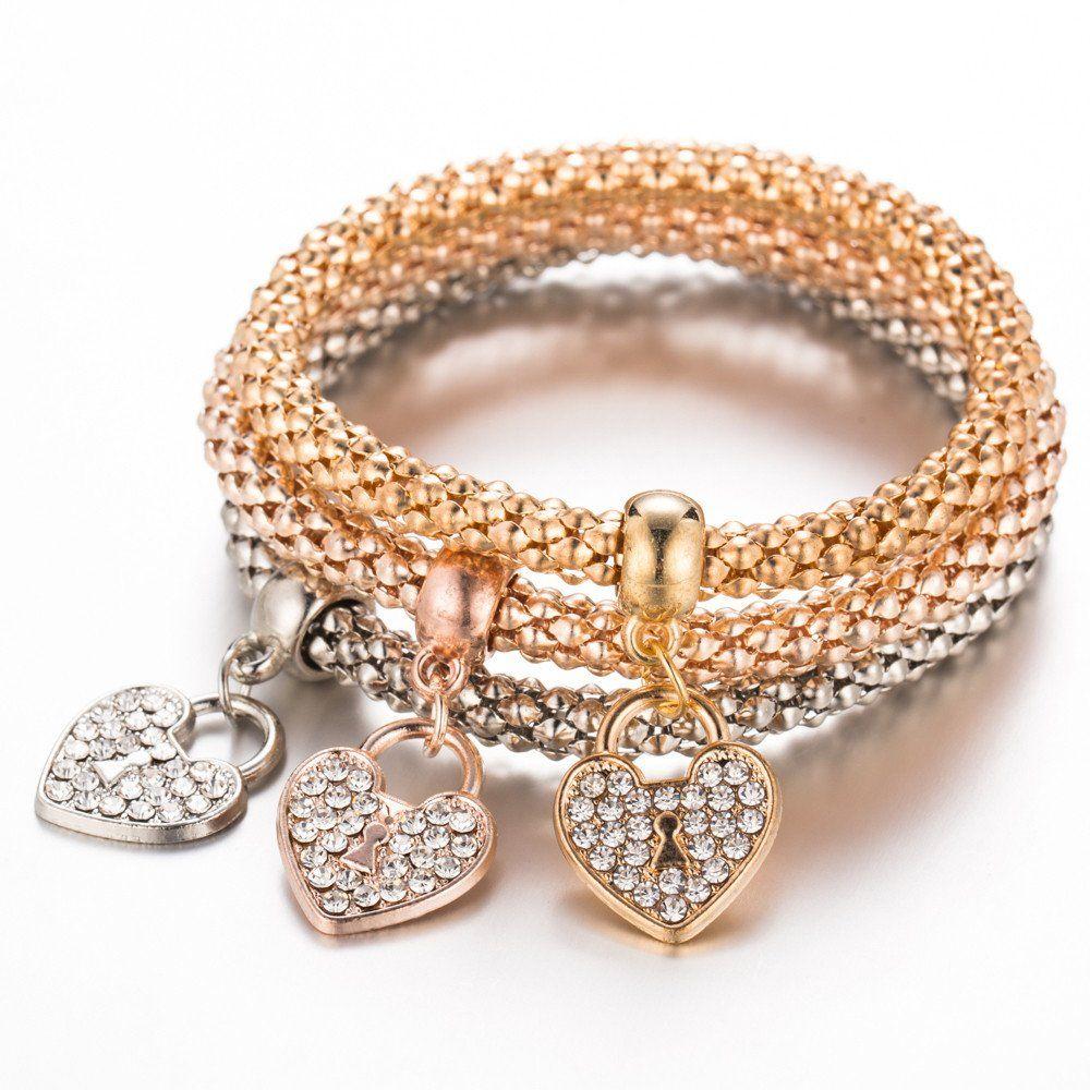 Pc tricolor heart rhinestone bracelet bracelets pinterest