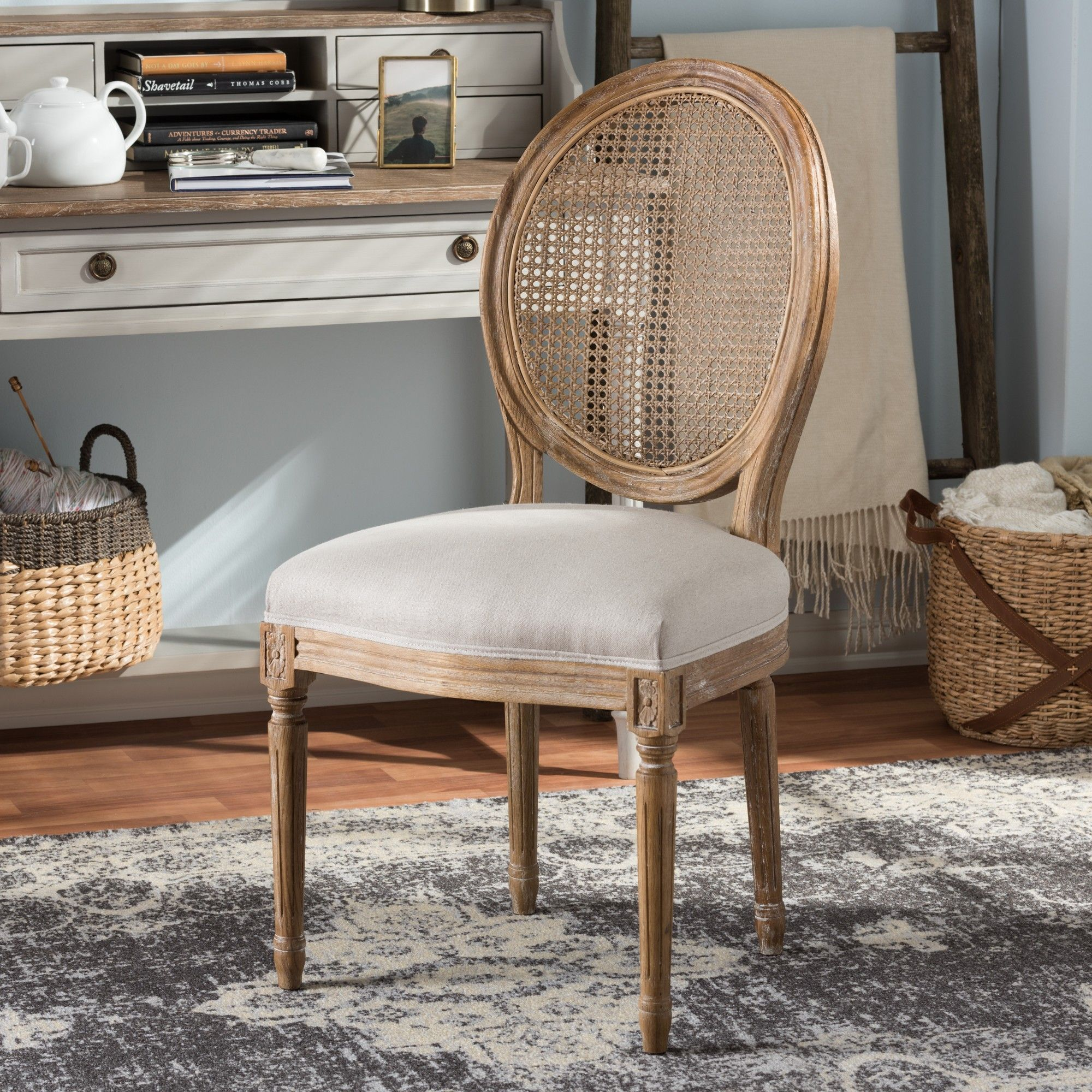 Adelia French Vintage Cottage Weathered Oak Beige Dining Side Chair With Round Cane Back French Country Dining Chairs Upholstered Dining Chairs Dining Chairs