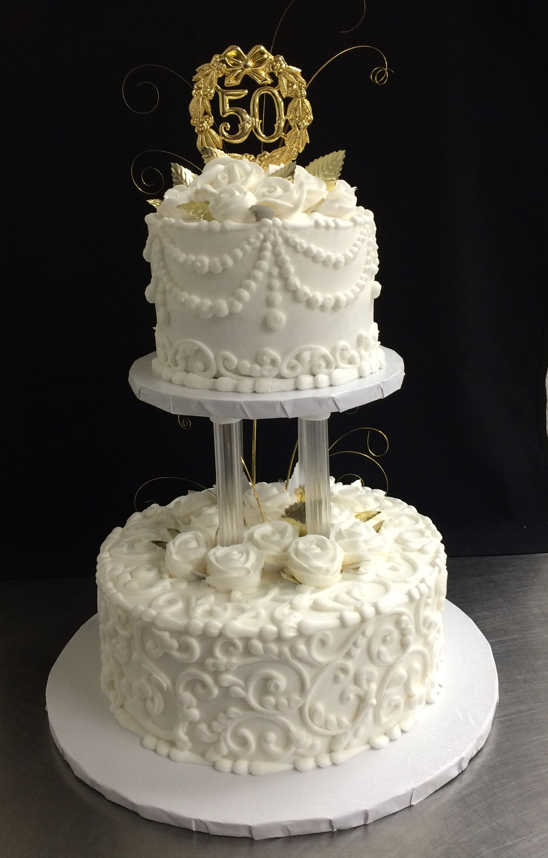50th Anniversary Cake By Stephanie Dillon Ls1 Hy Vee Wedding Cakes