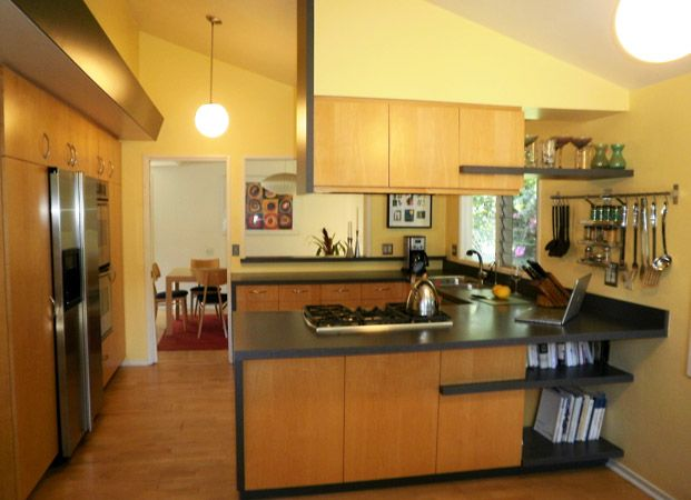 This modest modernization of a mid century modern track home interior utilizes up dated