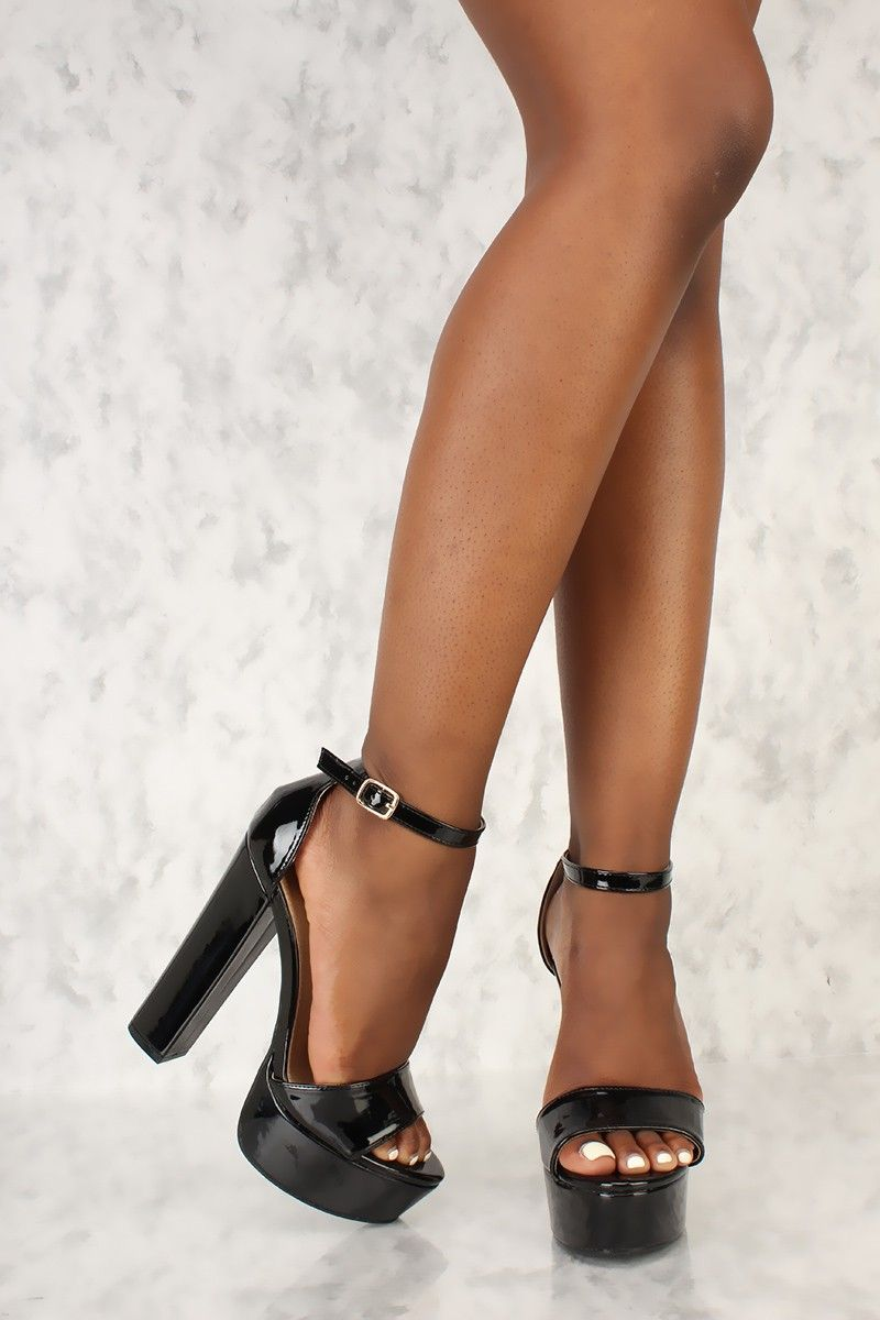 807cea85fa352 platform pumps with ankle strap. Sexy Black Open Toe Platform Pump Chunky High  Heels Patent Faux Leather
