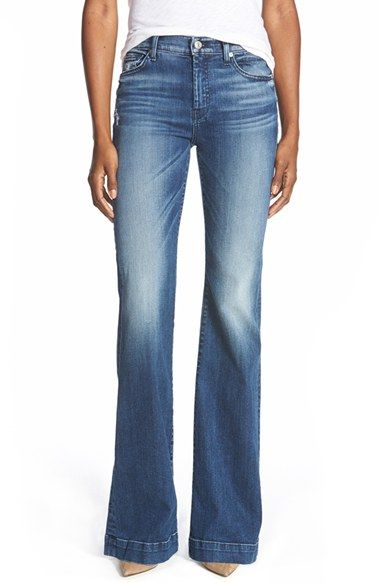 7 For All Mankind® 'Tailorless - Dojo' Wide Leg Jeans (Lake Blue) (Short) available at #Nordstrom