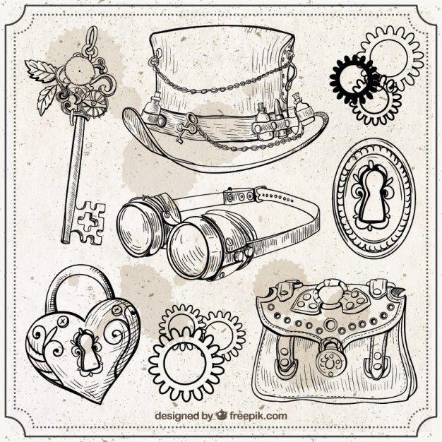 Hand drawn steampunk elements set Vector | Free Download ...