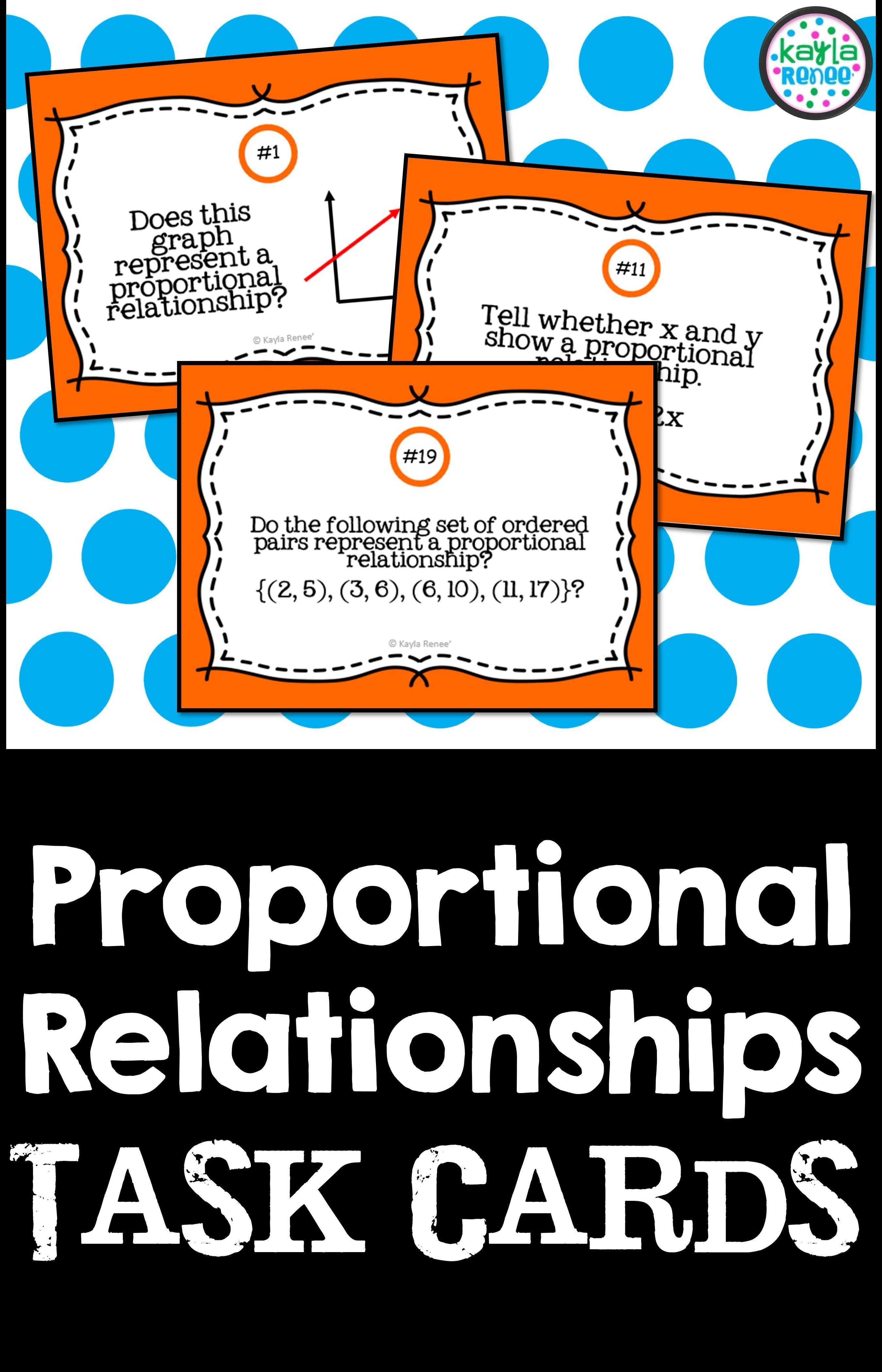 Proportional Relationships 7th Grade Task Cards Middle School Math Resources Task Cards Proportional Relationships