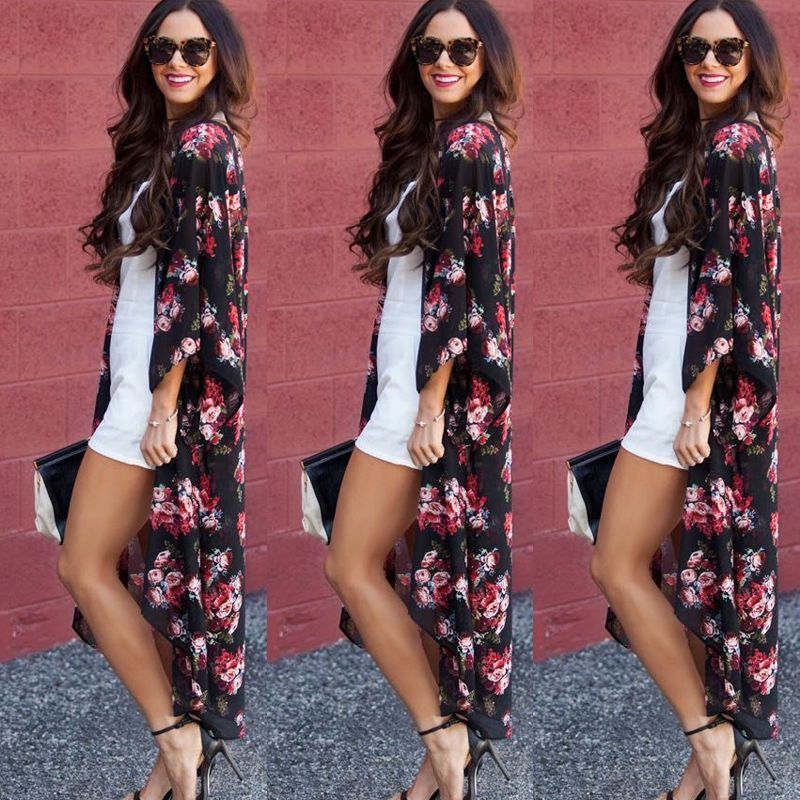 Fashion Women Floral Chiffon Kimono Cardigan Blouse Tops Cover Up ...