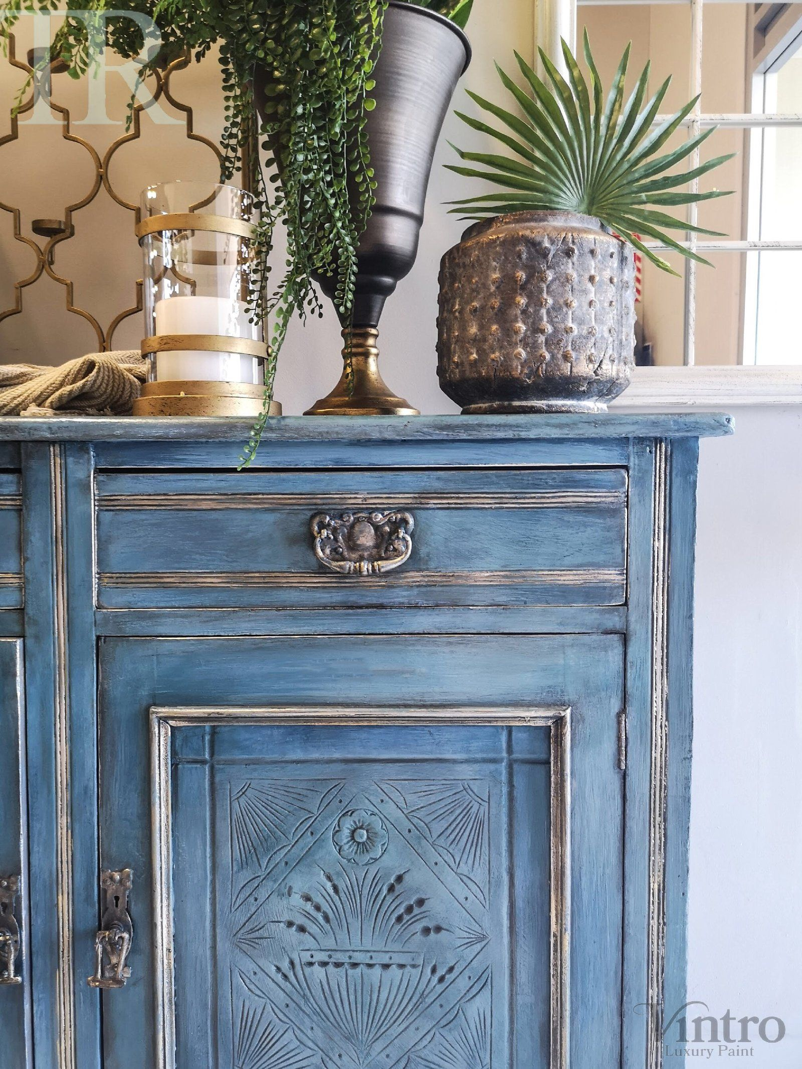 Delta Hand painted & glazed Blue Lacquered sideboard