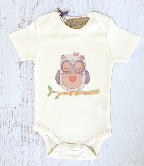 Baby Girl Certified Organic Cotton Bodysuit Precious Woodland Owl