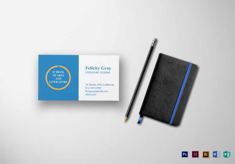 Student Business Card Template Formats Included Illustrator Indesign Ms Word Ph Student Business Cards Teacher Business Cards Illustration Business Cards