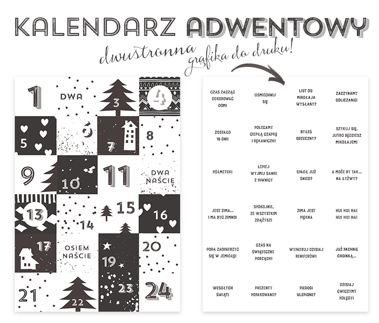 Kalendarz Adwentowy — do druku Advent calenders