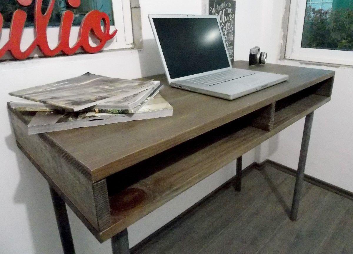 Escritorio industrial vintage mesa de madera tubo - Mesas de escritorio ...