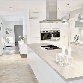 Graue Arbeitsplatte In Holzoptik Modern Kitchen Design White Kitchen Design Kitchen Cabinet Design