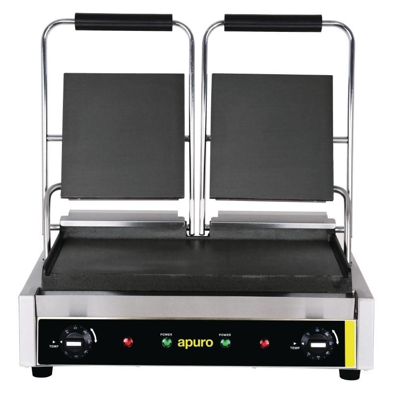 Apuro Bistro Double Contact Grill Smooth Plates Power  2 9kw  Dimensions  210 H X 540 W X 320 D