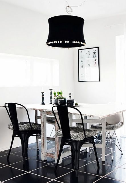 Black Tolix and  White DSR chair...daining room,styling