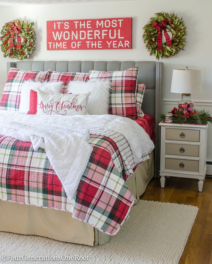 where to buy Christmas plaid bedding now before the holiday starts. Red, Green and white plaid bedding, red quilt and Merry Christmas pillow.