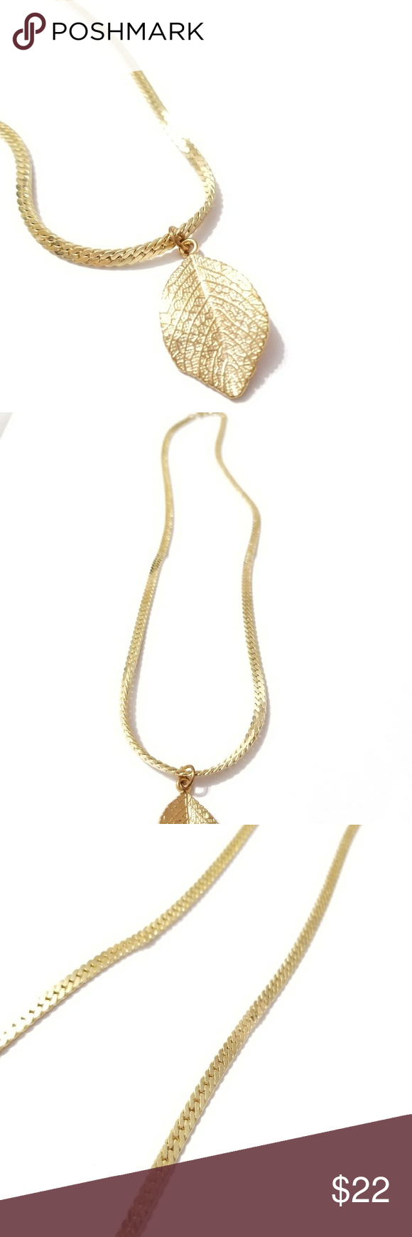 14kgp Gold Plated 9 Inch Necklace With Leaf Pendan Necklace Gold Leaf Pendant
