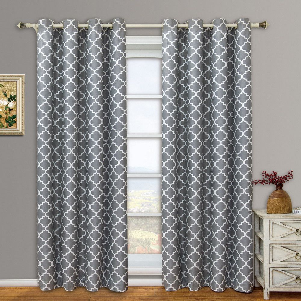 Grommet Thermal Blackout Moroccan Trellis Grey Window Panels - Modern Darkening window treatments for privacy and insulated to save on energy cost.