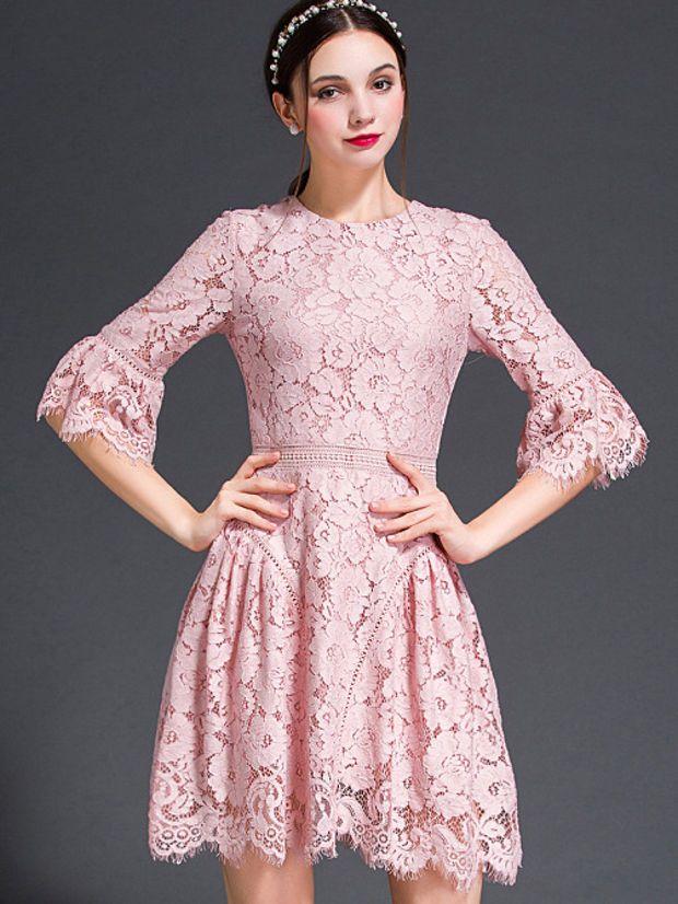 Vestido de encaje de manga campana de color rosa | moda | Pinterest ...