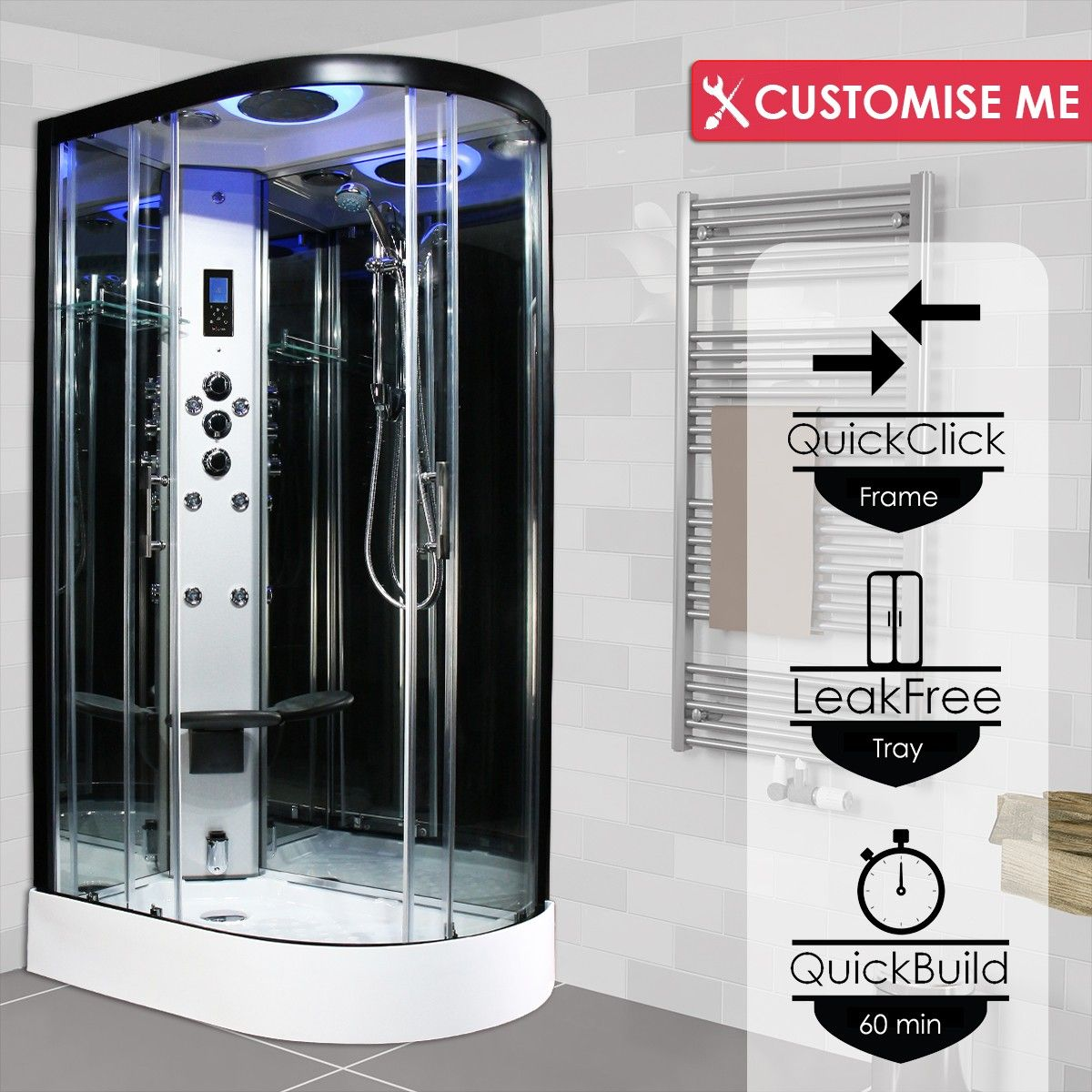 Premium Steam Shower 1200x800mm Black Frame Left Hand In 2020