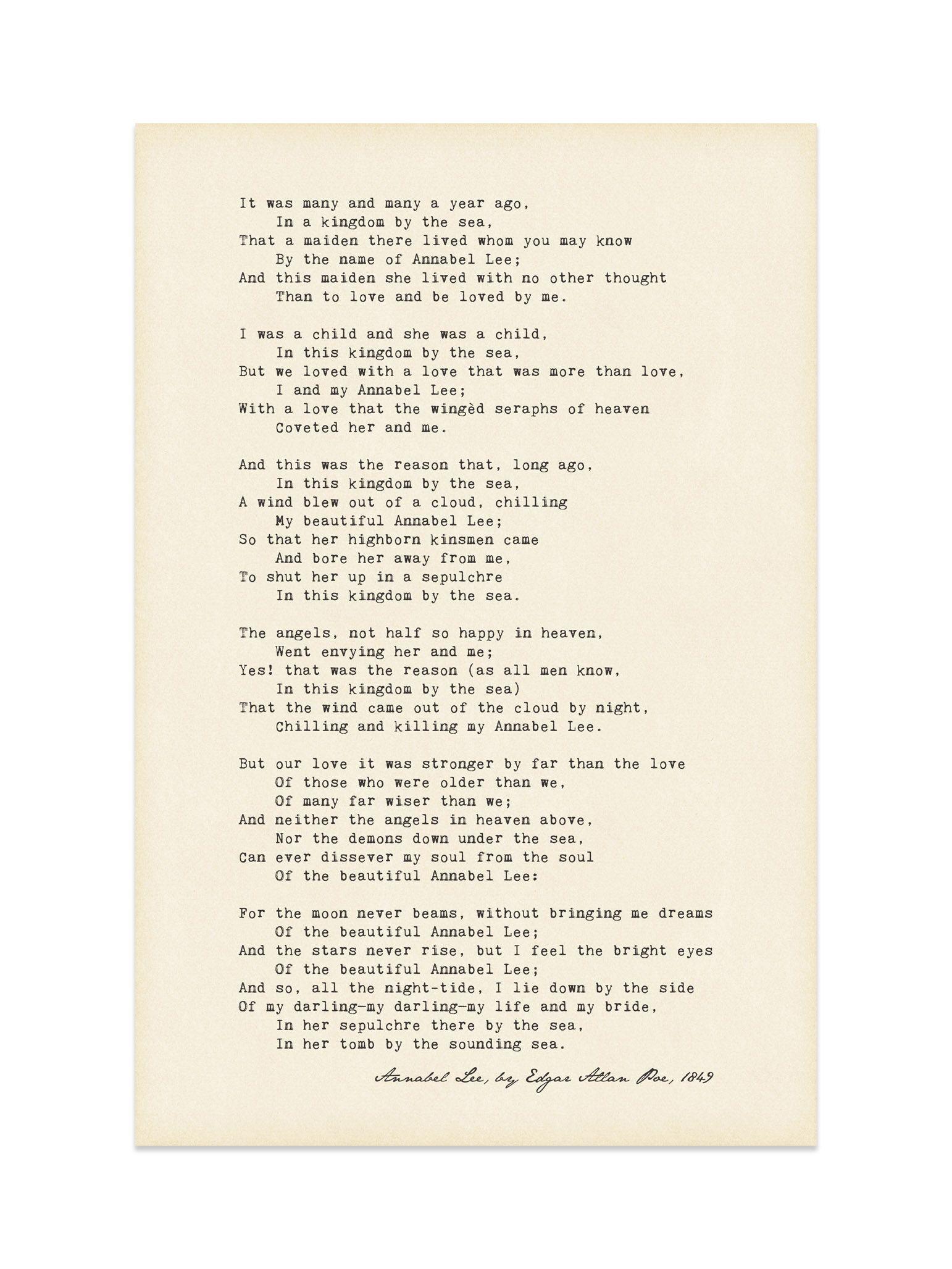 Annabel Lee Poem Poster Edgar Allan Poe Etsy Poems Robert Frost Poems Annabel Lee