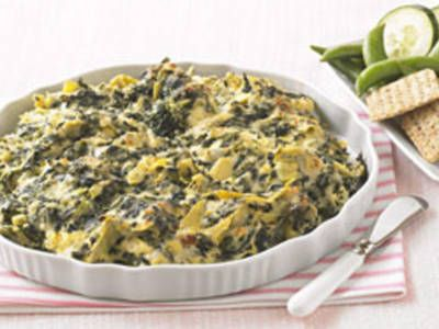 Spinich and artichokes in a creamy, cheesy dip.... Made this for honeys birthday dinner. So good!!