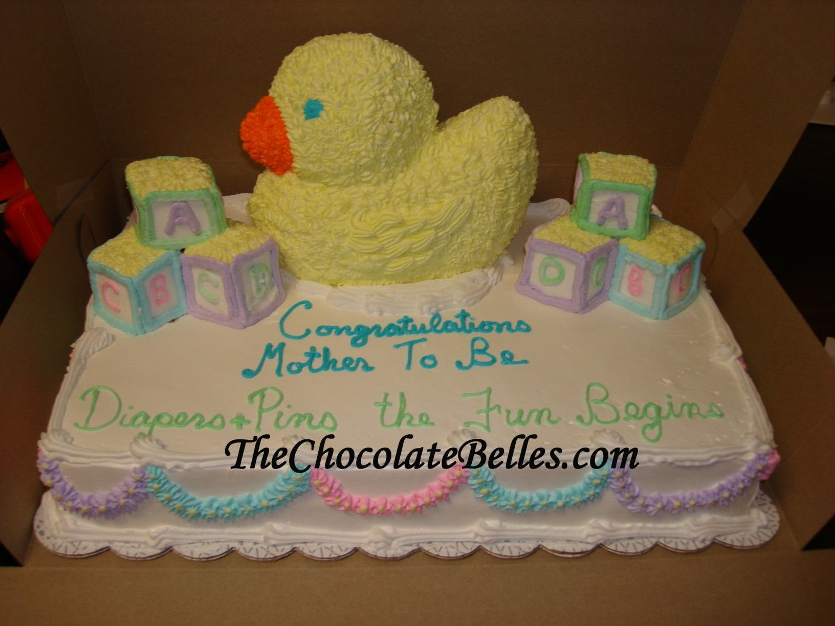Images Of Baby Shower Cakes | Baby Block And 3D Duckie Baby Shower Cake
